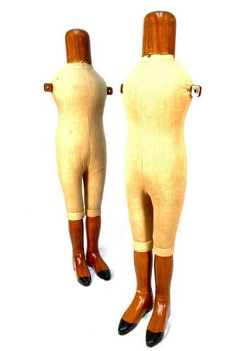 Pair of Antique Advertising Shop Display Wooden Mannequins / Clothes Stands